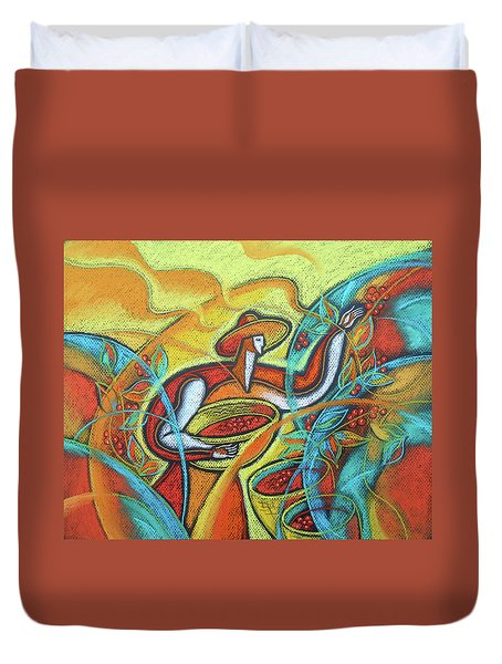 Duvet Cover featuring the painting Coffee Bean Harvest by Leon Zernitsky