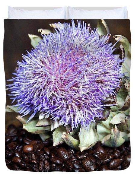 Coffee Beans And Blue Artichoke Duvet Cover