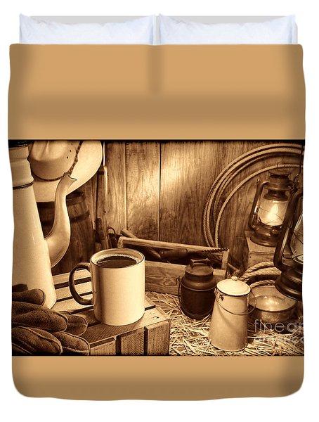 Coffee Break At The Chuck Wagon Duvet Cover