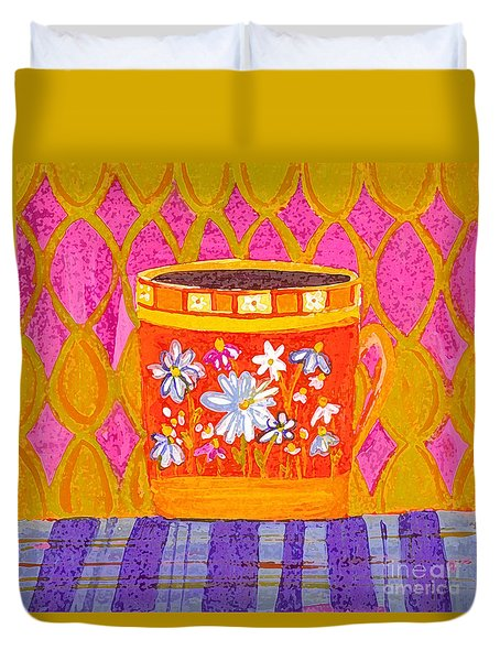Coffee Cup - Floral Eclectic Design - Funky Colors Illustration Duvet Cover