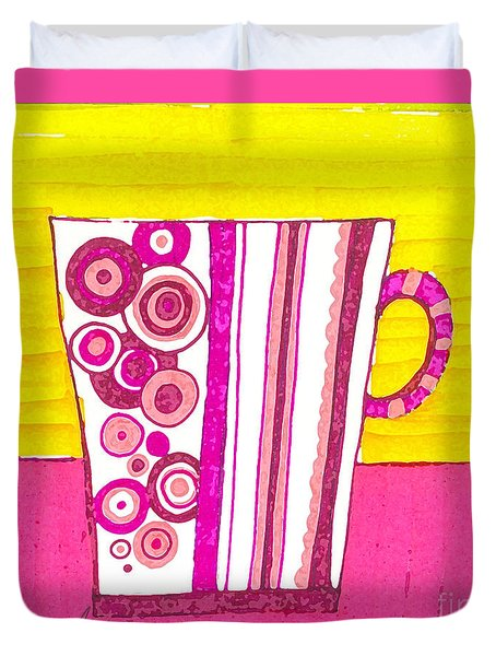 Coffee Cup - Teacup - Pink Circle And Lines Modern Design Illustration Art Duvet Cover