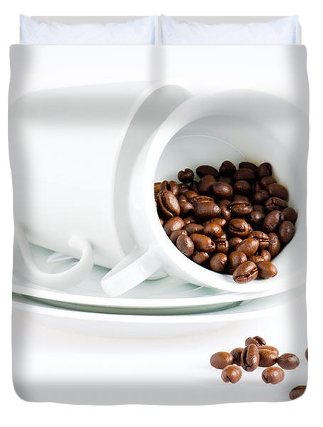 Coffee Cups And Coffee Beans  Duvet Cover