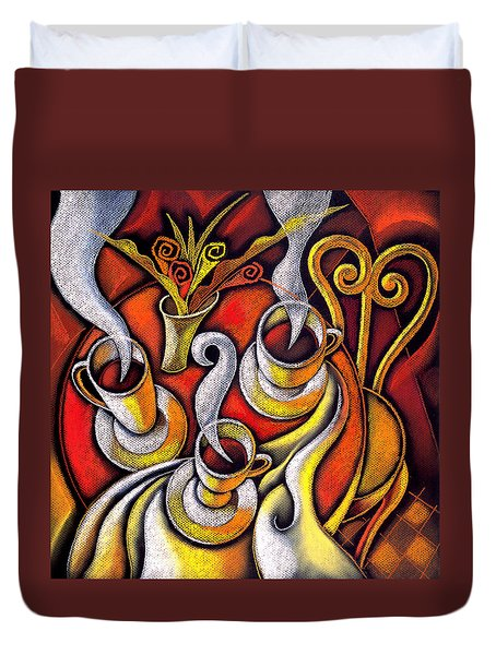 Duvet Cover featuring the painting Coffee Cups by Leon Zernitsky