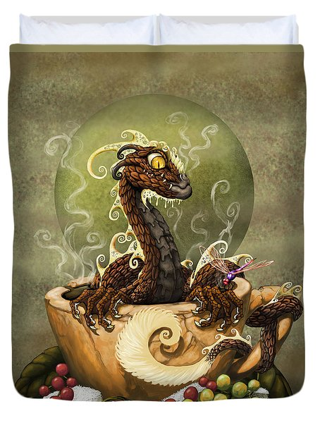 Coffee Dragon Duvet Cover by Stanley Morrison