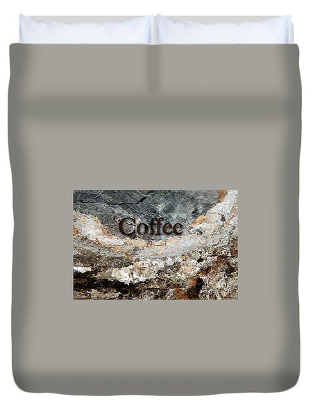 Coffee Edit 2 Brown Letters Duvet Cover