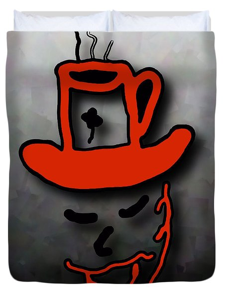 Coffee Hat Man Duvet Cover