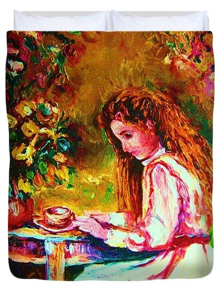 Coffee In The Garden Duvet Cover by Carole Spandau