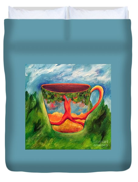 Coffee In The Park Duvet Cover