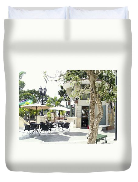 Coffee Lover's Expresso Bar At The Moll Boscana Town Square Duvet Cover
