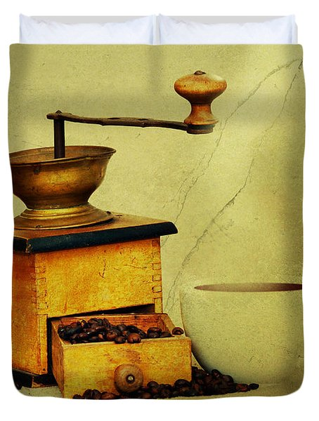 Coffee Mill And Cup Of Hot Black Coffee Duvet Cover