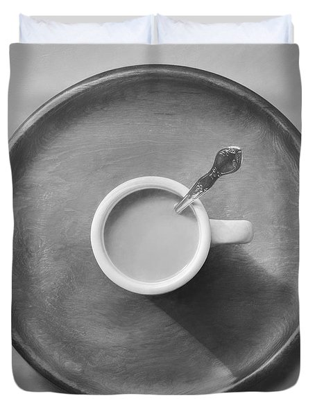 Coffee On A Wooden Tray Duvet Cover