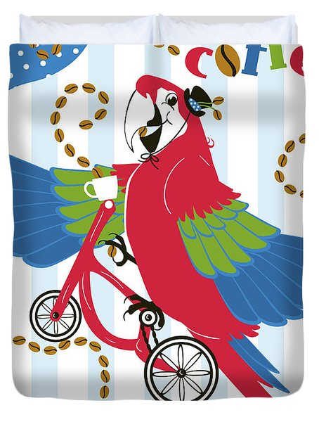 Coffee Parrot Duvet Cover