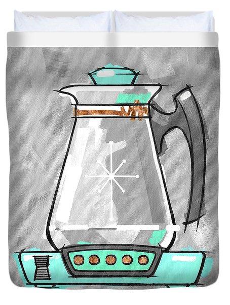 Coffee Pot Aqua Duvet Cover