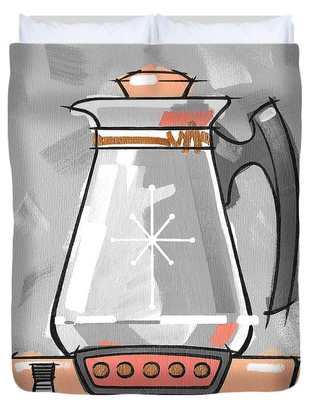 Coffee Pot Coral Duvet Cover