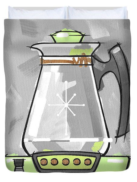 Coffee Pot Lime Duvet Cover