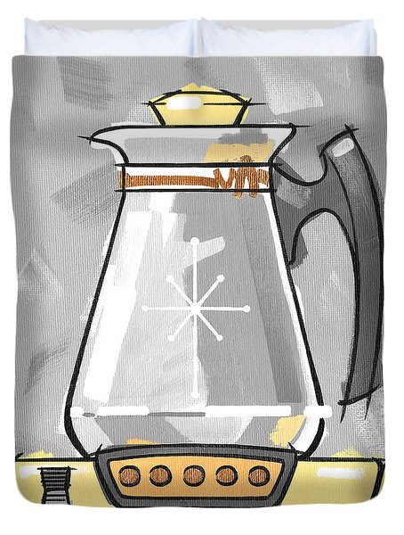 Coffee Pot Yellow Duvet Cover