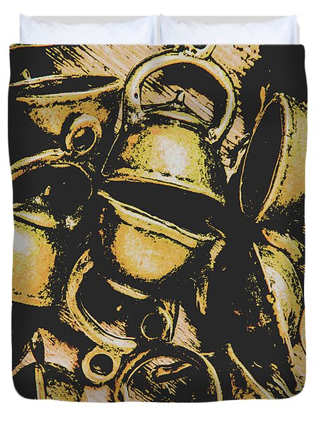 Coffee Shop Abstract Duvet Cover