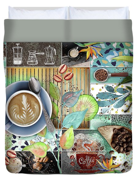 Coffee Shop Collage Duvet Cover