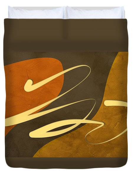 Coffee Time Abstract Art Duvet Cover