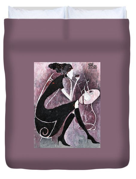 Duvet Cover featuring the painting Coffee Time by Maya Manolova