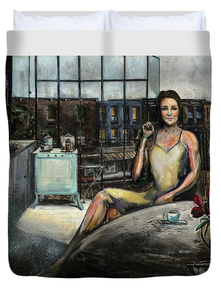 Coffee With Kate Duvet Cover by Antonio Ortiz