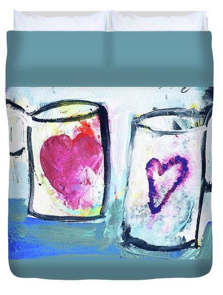 Coffee With Love Duvet Cover by Amara Dacer