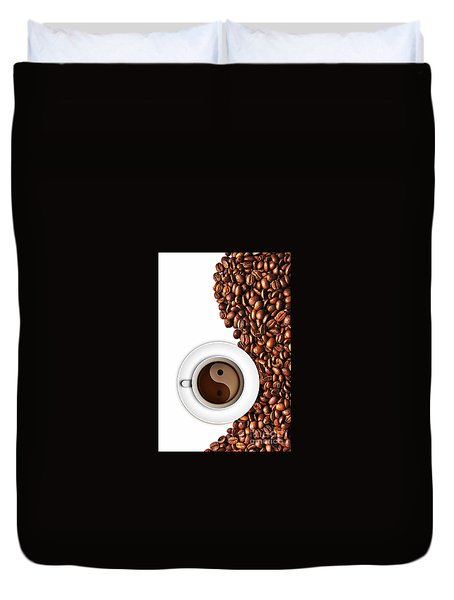 Coffee Yin And Yang Duvet Cover