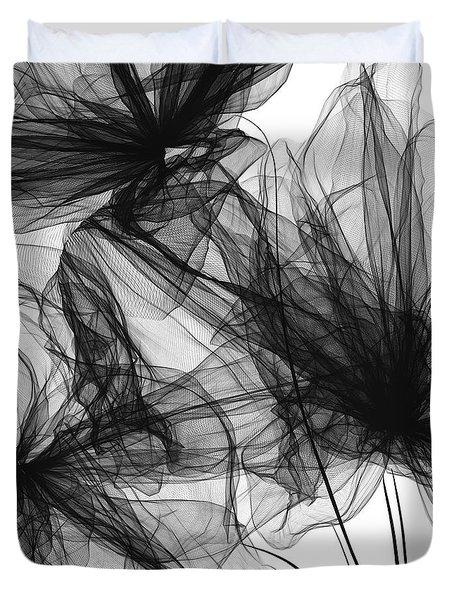 Coherence - Black And White Modern Art Duvet Cover by Lourry Legarde