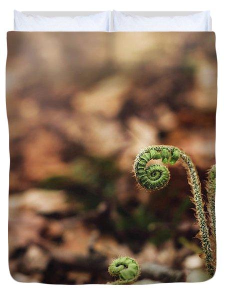 Coiled Fern Among Leaves On Forest Floor Duvet Cover
