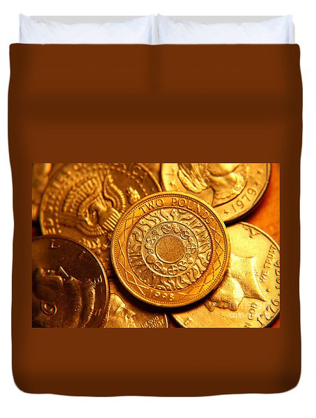 Coins In Macro Duvet Cover