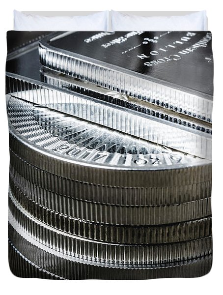 Coins Of Silver Stacking Duvet Cover