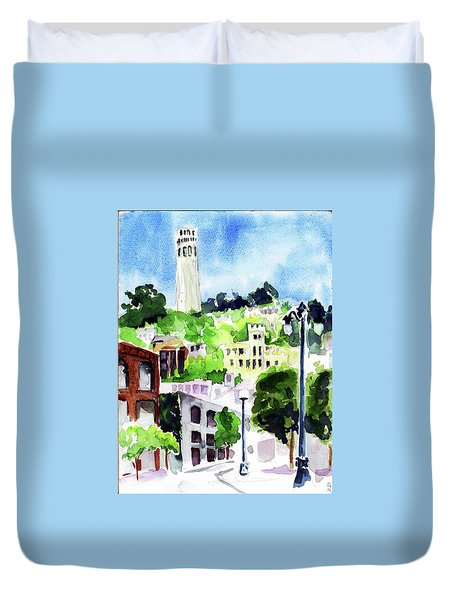 Coit Tower From The Embarcadero Duvet Cover