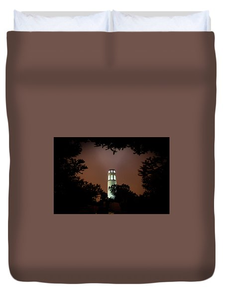 Coit Tower Through The Trees Duvet Cover