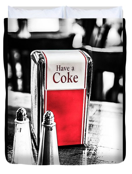 Duvet Cover featuring the photograph Coke Napkins by Karol Livote
