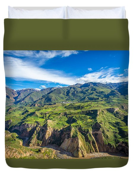 Duvet Cover featuring the photograph Colca Canyon Peru by Gary Gillette