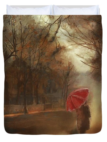 Cold Autumn Morning Painting Duvet Cover