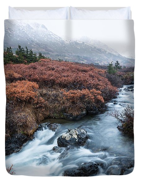 Cold Creek In Autumn Duvet Cover