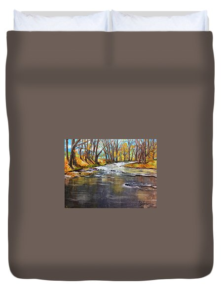 Duvet Cover featuring the painting Cold Day At The Creek by Annamarie Sidella-Felts