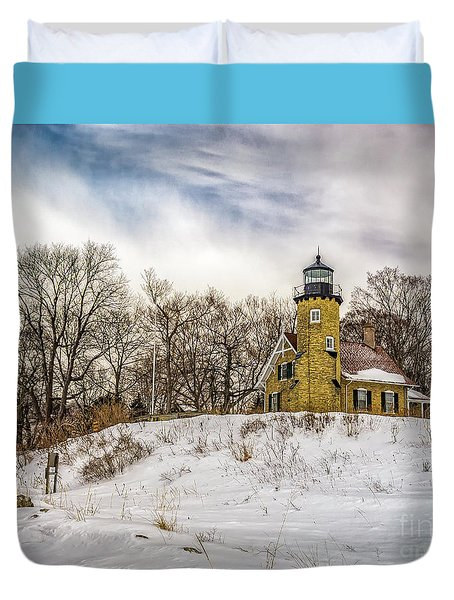 Duvet Cover featuring the photograph Cold Day At White River Lighthouse by Nick Zelinsky