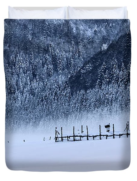 Duvet Cover featuring the photograph Cold Morning Panorama by Yuri Santin