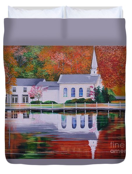Duvet Cover featuring the painting Cold Spring Harbor St Johns Church by Nereida Rodriguez