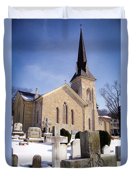 Duvet Cover featuring the photograph Cold Stone Service by T Brian Jones