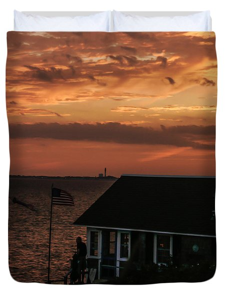Cold Storage Beach Sunset Duvet Cover