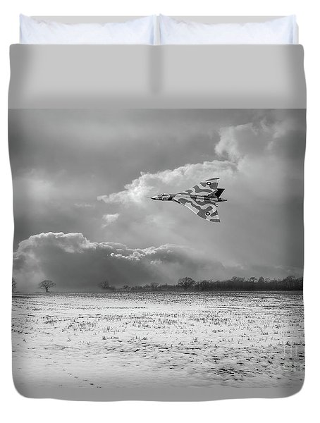 Duvet Cover featuring the photograph Cold War Warrior Bw Version by Gary Eason