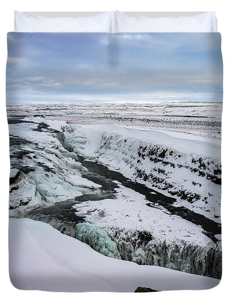 Cold Winter Day At Gullfoss, Iceland Duvet Cover