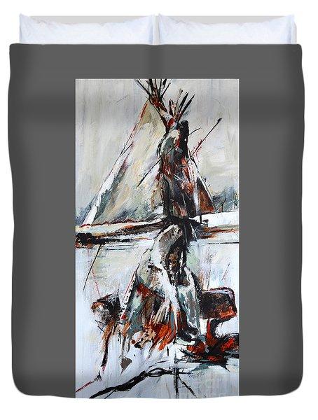 Duvet Cover featuring the painting Cold Winter Day by Cher Devereaux