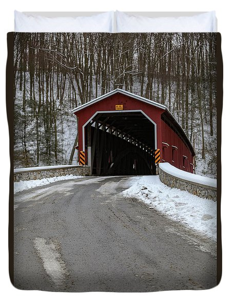 Colemansville Covered Bridge After Winter Snow Duvet Cover