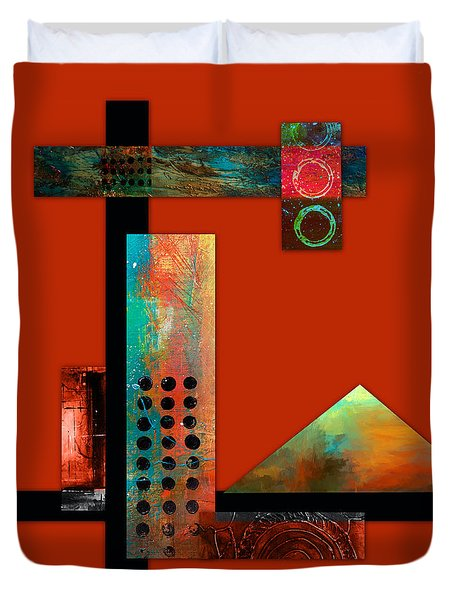 Duvet Cover featuring the mixed media Collage Abstract 1 by Patricia Lintner