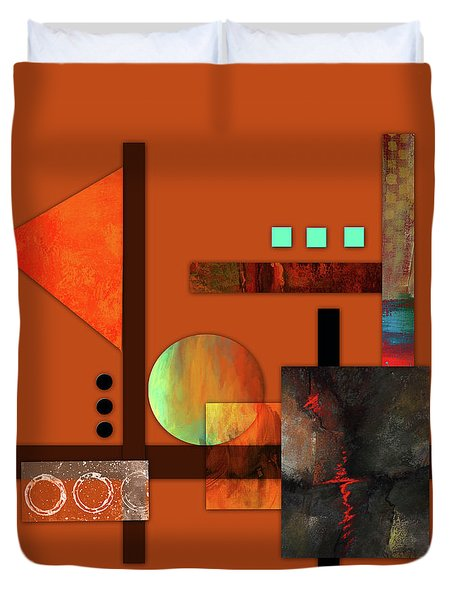 Duvet Cover featuring the mixed media Collage Abstract 9 by Patricia Lintner