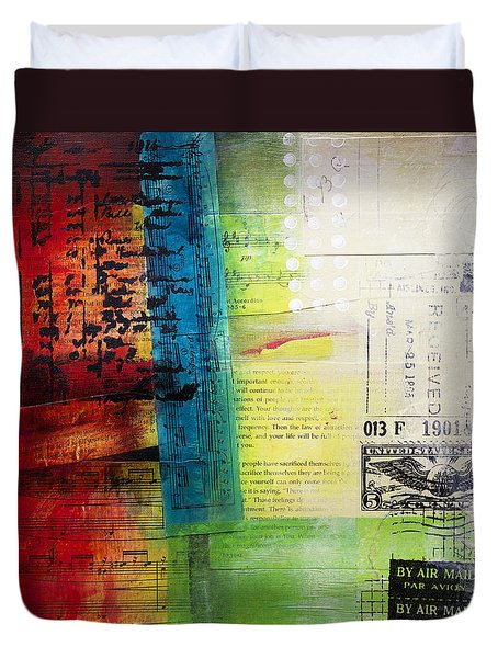 Duvet Cover featuring the painting Collage Art 4 by Patricia Lintner